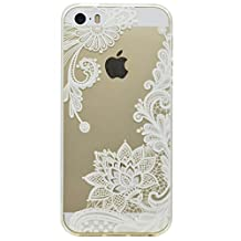 iPhone 5S Case, iPhone SE Case, Soft Clear TPU Gel Case Simple Lace Flower Pattern Ultra Slim Flexible Protective Skin Back Cover For Apple iPhone 5/5S/SE