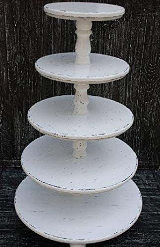 ALL SIZES 5-tiered wooden shabby cake pedestal,5-tiered White Wedding Shabby Cake Stand,White Cupcake Stand,Wedding Cake holder ()