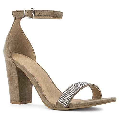 RF ROOM OF FASHION Jeweled Open Toe Ankle Strap Chunky Heel Dress Sandals Taupe Size.8.5