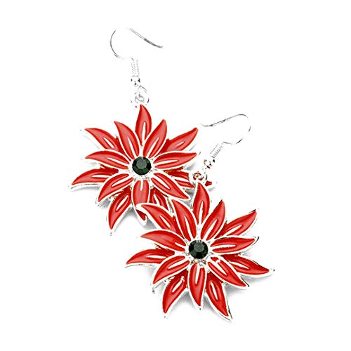 Kigmay Jewelry Christmas Outfit Collection 2019 Flower Poinsettia Dangle Earrings (Silver)