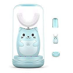 Kids Electric Toothbrush with U-shaped Brush head,3 Working Modes with Smart Timer,IPX7 Waterproof,Auto Dryer,UV Sterilizing,Wireless Rechargeable,Suitable for Toddlers Aged 2-6 (Blue)