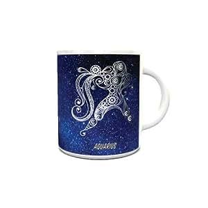 White Ceramic Coffee Mug with Zodiac Sign Aquarius Design