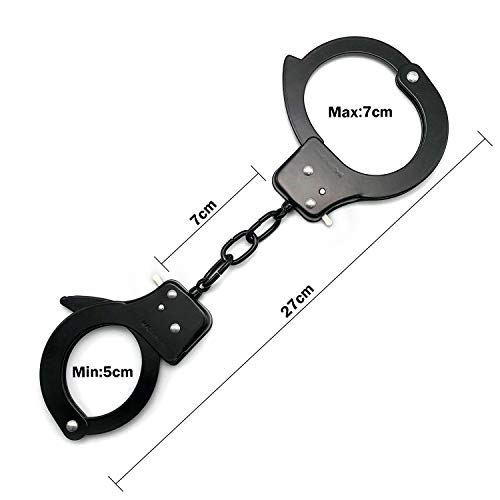 SYOSIN Toy Metal Handcuffs with Keys Police Role PlayParty Supplies Cosplay Costume Accessory Pretend Play Hand Cuffs for Kids (Black)