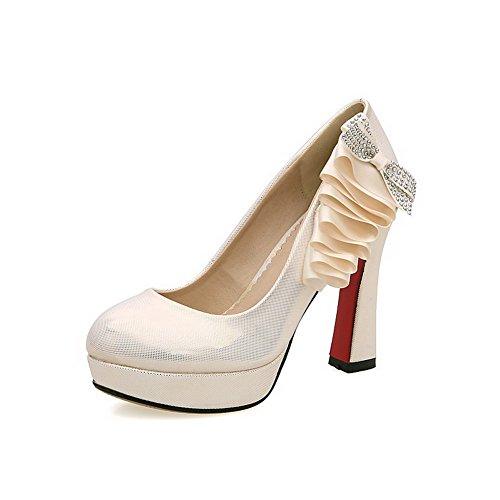 Estraibili Beige calzature Punta Chiusa Materiale Rotonda Sulla talloni Pompe Amoonyfashion Donne Molle Alto Solidi tqT7xOwn14