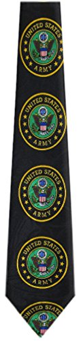 Mil 303   Mens Novelty Us Army Necktie   Black Gold Green