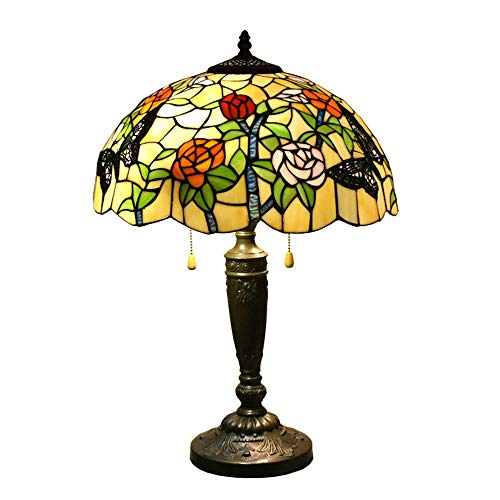 24 Inches Tall Tiffany Style Lamps Butterfly Floral Table Desk Light Stained Glass 16 Inches Wide Lamp Shade Vintage Unique Victorian Lamp for Living Bedside Coffee Room College Dorm (Tiffany Style Lamp Butterfly)