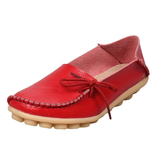 MatchLife Women Vintage Leather Flat Pump Casual Shoes Red Vca96