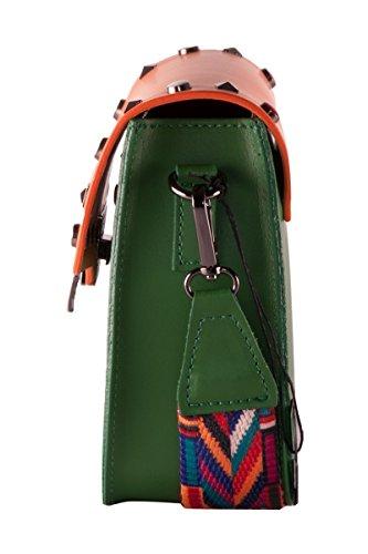 BORDERLINE - 100% Made in Italy - Mujer bolso de cuero con tachuelas y pequeña correa de hombro de colores - ARIANNA Verde / Calabaza