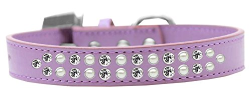 Mirage Pet Products Two Row Pearl and Clear Crystal Lavender Dog Collar, Size 20 by Mirage Pet Products