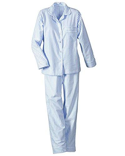 National Long Sleeve Woven Striped Pajamas, Blue, Petite Small - Petites Long (Striped Woven Cotton Pajamas)