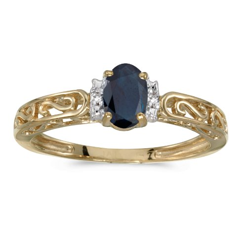 0.40 Carat ct 10k Gold Oval Blue Sapphire & Diamond Accent Swirl Filigree Engagement Promise Fashion Ring - Yellow-gold, Size 8 (Filigree & Sapphire Ring Diamond)