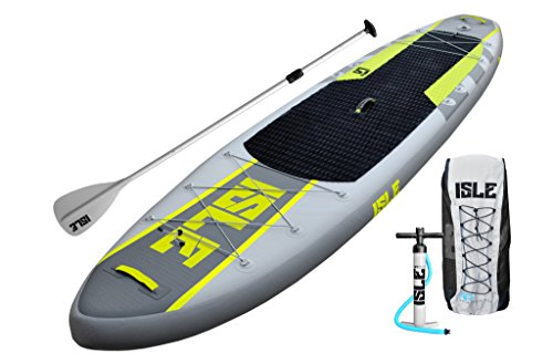ISLE 11' Airtech Inflatable Explorer Stand Up Paddle Board (6'' Thick) iSUP Package | Includes Adjustable Travel Paddle, Carrying Bag, Pump by ISLE Surf and SUP