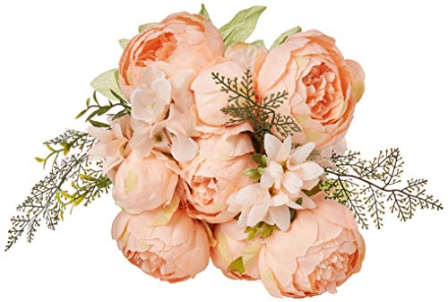 EZFLOWERY 1 Pack Artificial Peony Silk Flowers Arrangement Bouquet for Wedding Centerpiece Room Party Home Decoration, Elegant Vintage, Perfect for Spring, Summer and Occasions (1, Light Orange) (Silk Flower Centerpiece Ideas)