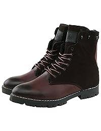 Akar Men's Winter Fleece Lace-up Casual Business Martin Boots Oxford Shoes