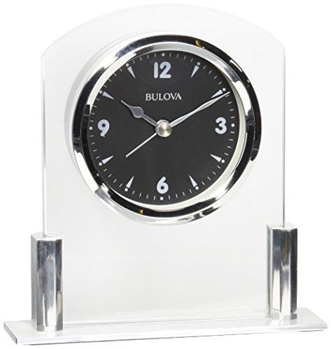 Bulova B5022 Newton Table Clock, Polished Silver-Tone Finish