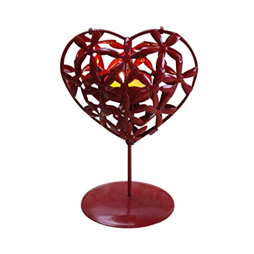 Valentine Candlestick, SUKEQ Heart Shape Hollowed Iron Stencil Candlestick Home Adornment Decoration Candle HolderValentine's Day Gift for Party, Valentine, Birthday (Red)