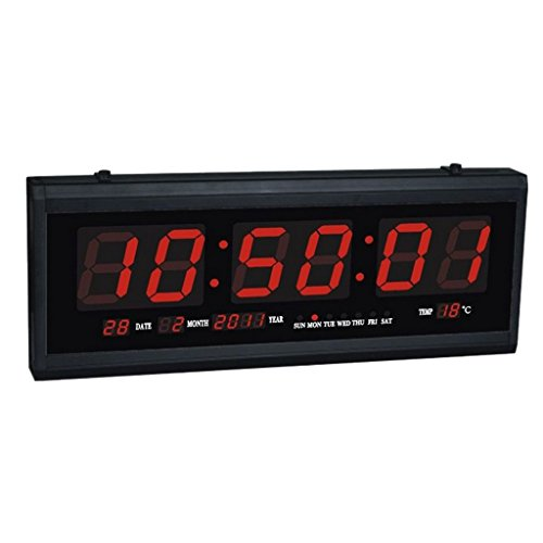 Blesiya Digital LED Calendar Wall Clock Large Big Digits Table Desk Clock Perpetual Calendar Temperature US Plug - Red, 48x4x19cm