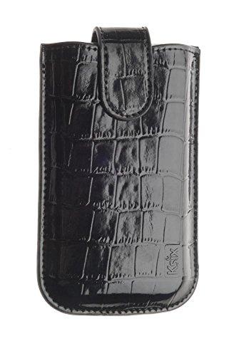 KSIX BXKG03IN Genuine Leder Handytasche Gold Croco für Apple iPhone 4/4S Große L schwarz