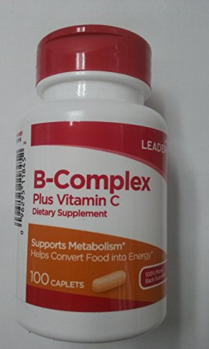 Leader B-Complex Plus Vitamin C, 100 Caplets Per Bottle (11 Pack) by Leader