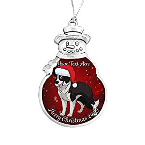 Border Collie Santa Hat 2019 Christmas Silver Ornament Gift Choose Snowman Snowflake Bulb Choose Your Text (Snowman) 1