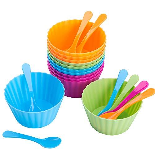 (Ice Cream Bowls For Kids,Plastic Dessert Bowls For Fruit Salad Sundae Snack Frozen Yogurt,Ice Cream Bowls And Spoons Set For Birthday Party(12pcs) Dessert Cups Christmas Halloween)