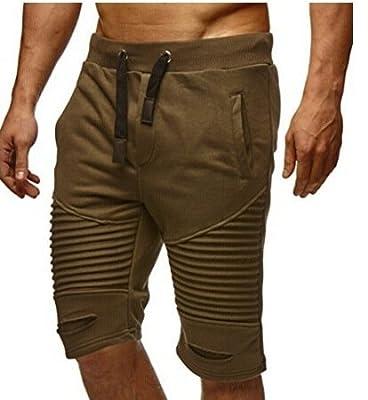 PT&Key Men's Joggers Half Shorts Sweatpants Muscle Type