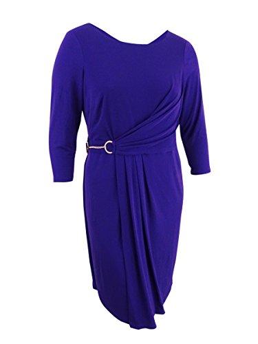Calvin Klein Womens Plus Faux-Wrap Buckle Cocktail Dress