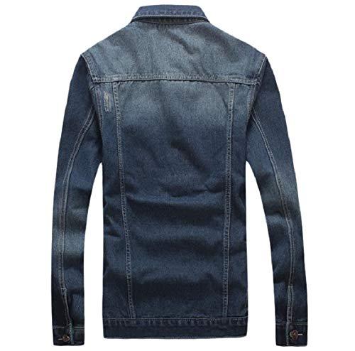 Più Turno Collare Cappotto Scuro Premuto Il Mens Formato Pulsante Tralicco Blu Lavato Rkbaoye qTtHfw1xq