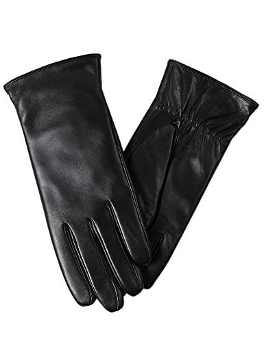 Super-soft Leather Winter Gloves for Women Full-Hand Touchscreen Warm Cashmere Lined Perfect Appearance (The Best Leather Gloves)