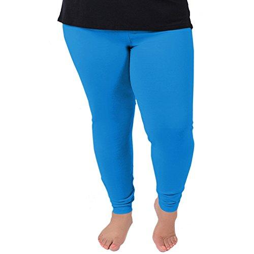 Stretch is Comfort Women's Cotton Plus Size Leggings Ocean Blue 3XL