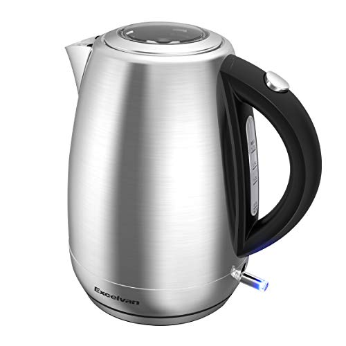 Electric Kettle Stainless Steel Cordless Tea Kettle 1500W Fasting Boiling with Temperature Control, 1.8 QT Hot Water Kettle with Blue LED Light, Auto Shut-Off and Boil-Dry Protection by Excelvan