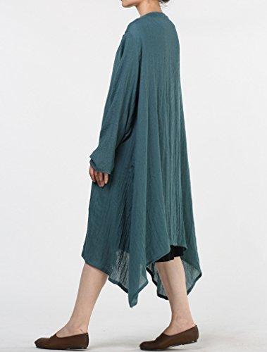 Vogstyle - Vestido - para mujer Long Sleeve-Teal