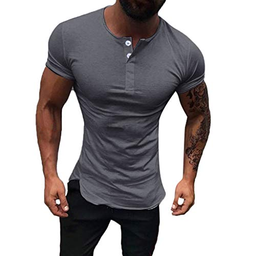 - Men's Fashion Round Neck Slim Stretch Short Sleeve,MmNote Gym Muscle Fitness Sports Moisture Wicking Performance T-Shirt Dark Gray