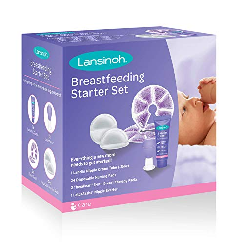 Lansinoh Breastfeeding Starter Set for Nursing Mothers, Breastfeeding Gift for Baby Showers and New Moms, Contains Nursing Essentials and Breast Therapy