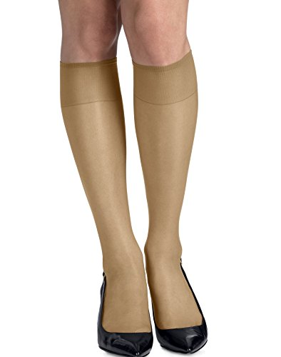 Knee Natural High (Hanes Silk Reflections Silky Sheer Knee High RT 6 Pack (00775) -Natural -ONE SIZE)