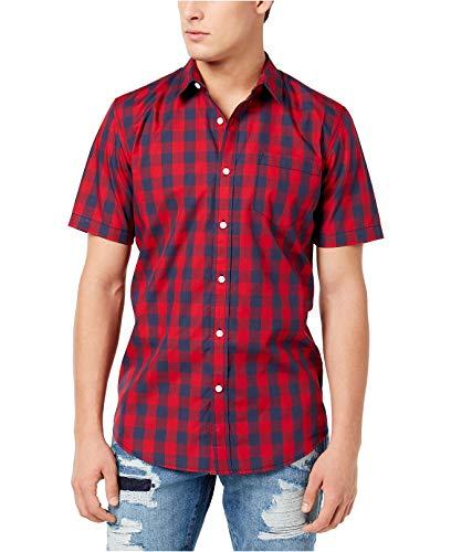 American Rag Mens Plaid Check Woven Button Down Shirt 2XL XXL Red Blue