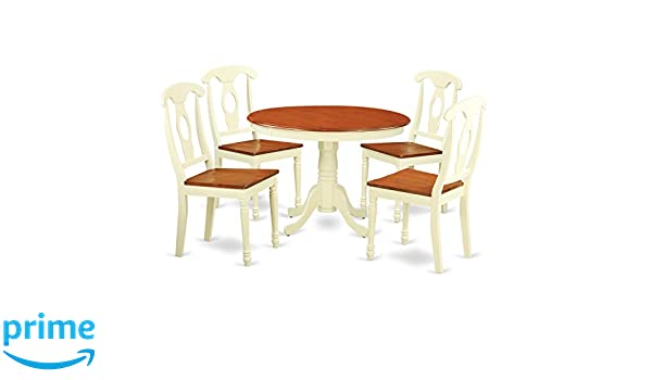 Amazon.com: East West Furniture HLKE5 BMK W 5Piece Hartland Set With One  Round 42in Small Table U0026 4 Dinette Chairs With Wood Seat In A Beautiful  Buttermilk ...