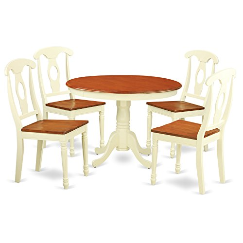 East West Furniture HLKE5-BMK-W 5Piece Hartland Set with One Round 42in Small Table 4 Dinette Chairs with Wood Seat in a Beautiful Buttermilk Cherry Finish