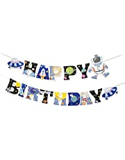 Sumerk Space Theme Happy Birthday Banner Glitter Universe Outer Space Party Decorations Rocket Spaceship Banners