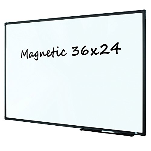 Lockways Magnetic Dry Erase Board, Whiteboard 36 x 24 Inch, White Board 3 x 2, Ultra-Slim Black Aluminium Frame, 1 Aluminum Marker Tray, 1 Dry Erase Markers, 2 Magnets for School, Home, Office