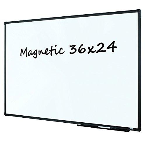 Lockways Magnetic Dry Erase Board - Whiteboard 36 x 24 / White Board 3 x 2, Ultra-Slim Black Aluminium Frame, 1 Aluminum Marker Tray, 1 Dry Erase Markers, 2 Magnets for School, Home, Office