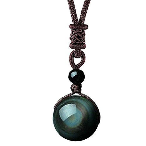 OK-STORE Natural Black Obsidian Rainbow Eyes Stone Necklace Pendant, 20mm Obsidian Bead with Woven Cotton Chain, Talisman Dedication of Wellness and Wealth (A1 20mm) Black Stone Eye