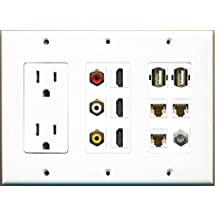 RiteAV - (3 Gang) 15A Power Outlet 3 HDMI Coax 3 Cat6 Composite Video 2 USB AA Wall Plate
