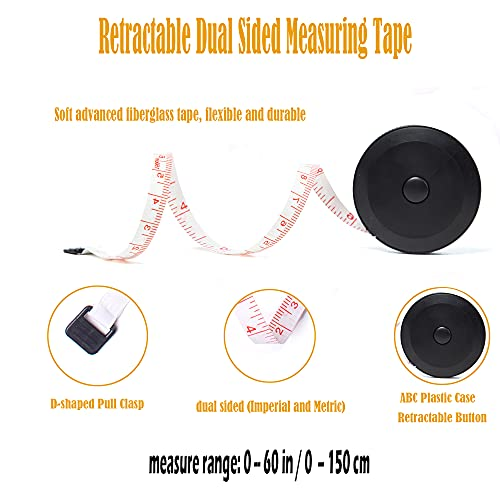 Harsgs 4 Pack Soft Tape Measure Set, Retractable Measuring Tape and Flexible Sewing Ruler Measuring Tape for Body Fabric Sewing Tailor Cloth Knitting Home Craft Measurements, Black