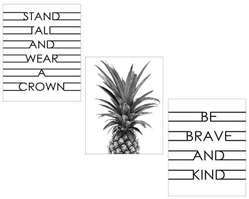 Pineapple Motivation Wall Art Print - Set of Three - Two Inspirational Quotes - One Image