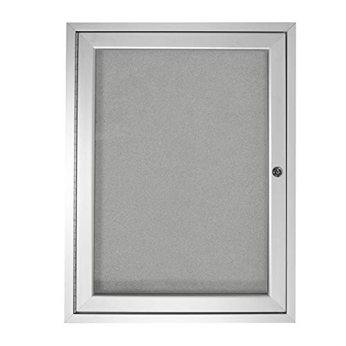 "1 Door Outdoor Enclosed Bulletin Board Size: 2' H x 1'6"" W, Frame Finish: Satin, Surface Color: Silver"