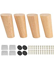 7 inch massief houten meubelpoten, Btowin 4 stks Mid-Century moderne ronde houten vervangende voeten met & montageplaat & schroeven voor bank fauteuil kast tv-standaard