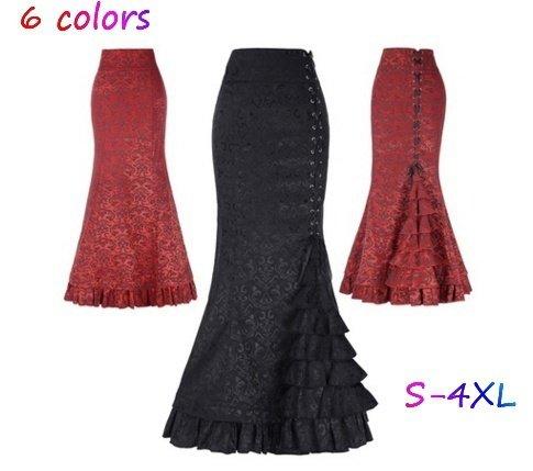 wangxiyan 6 Colors Women's Vintage Gothic Victorian Fishtail Skirt Steampunk Long Mermaid Dress PLUS SIZE S-2XL ()