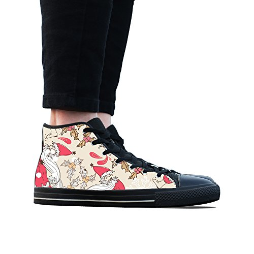 Sneakers, Custom Christmas Decoration High Top Canvas Shoes Classic Casual Fashion Colorful Woens Black