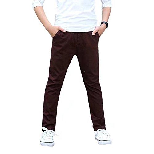 CNMUDONSI Big Boy's Autumn Slim Pants(M728-Brown 8T) ¡